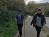 Helen, supported by sister, Laura, walking the last 100 yards
