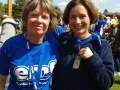 Tina and Faith, still smiling after the Edinburgh marathon