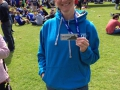 Clair, very happy having run the Edinburgh half marathon