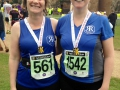 "Harriet and Jo: ""Don't be put off by the inclines; we both ran the Two Castles today, many minutes faster than we ran the flatter Regency 10K two months ago!"""