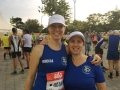 Rebecca and Lina at the start of the Lisbon Marathon