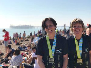 Faith and Tina earned their medals after running the Brighton Marathon on the hottest day of the year so far!