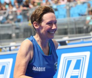 Maggie finishing the Leeds Triathlon - the smile says it all!
